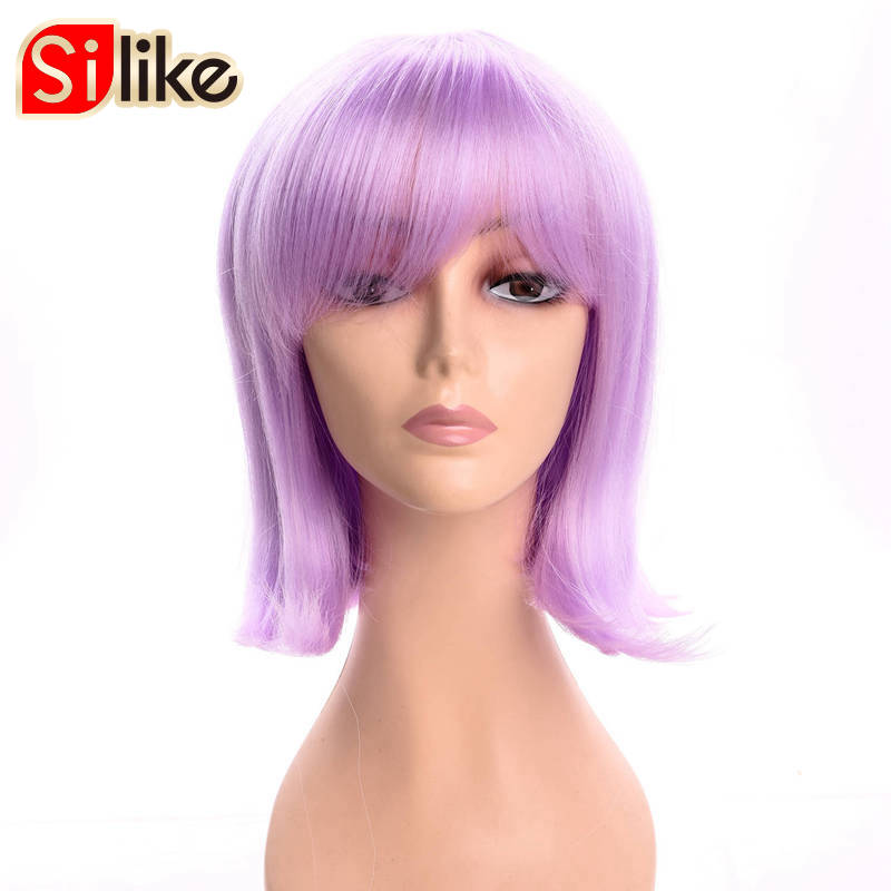 Silike Short Purple Straight Synthetic wigs For Black Women Heat Resistant Fiber With Bangs Silky Bob
