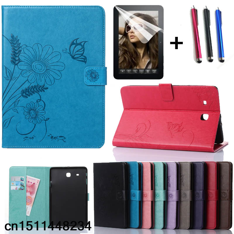 New Fashion high quality Carved PU leather case For Samsung Galaxy Tab E 9.6 T560 T561 Tablet smart case + film + pen