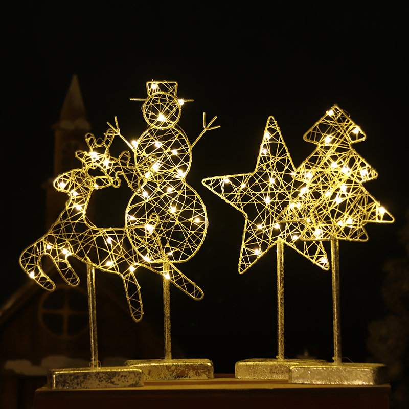 Christmas Night Lights Classic Elk Light Snowman Lamp Living Room Christmas Tree Night Lamp Bedroom Pentangle Star Light 3d christmas snowman shape touch colorful night light