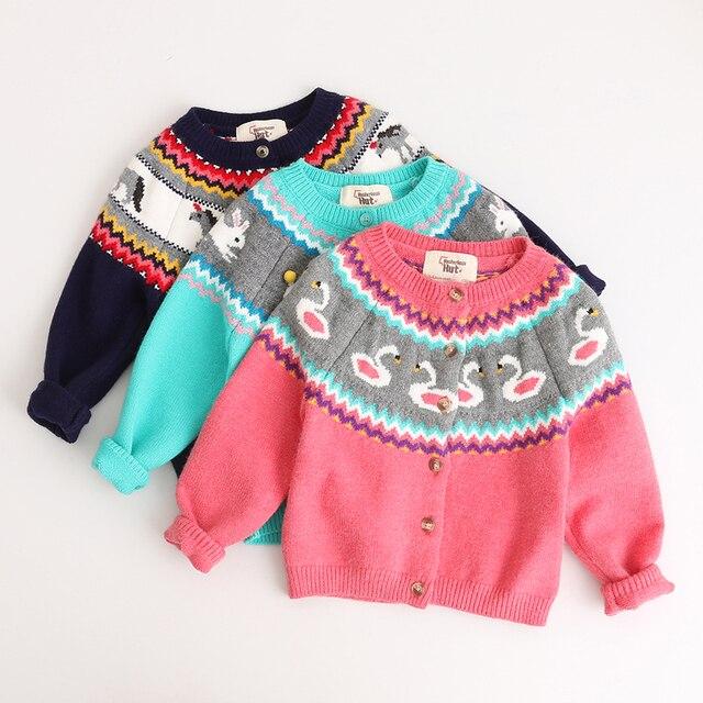 6090d8885 2017 Baby Girl Sweaters Cardigan Casual Kid Rabbit Swan Unicorn ...