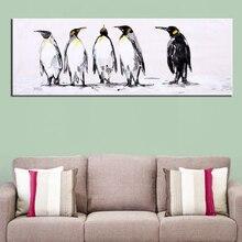 Obraz olejny ręcznie malowane Penguin Nowoczesne Zwierząt Ściana dekoracyjna Płótno Obrazek dla salonu wystrój domu Ściana Sztuki