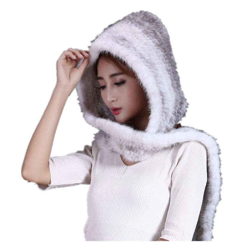 Real mink fur hats with scarves for women black brown gray color knitted warm atumn winter caps H117