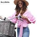BerylBella Mulheres Blusa Casual V-neck Strapless Camisa Arco Longo Lapela Mangas Rosa Branco Blusas Topos Colheita Soltos Blusas de Inverno