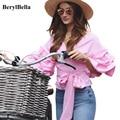 BerylBella V-cuello Sin Tirantes de la Blusa de Las Mujeres Ocasionales Camisa de Arco Largo de la Solapa de Mangas Rosa Blanco Blusas Invierno Flojo Crop Tops Blusas