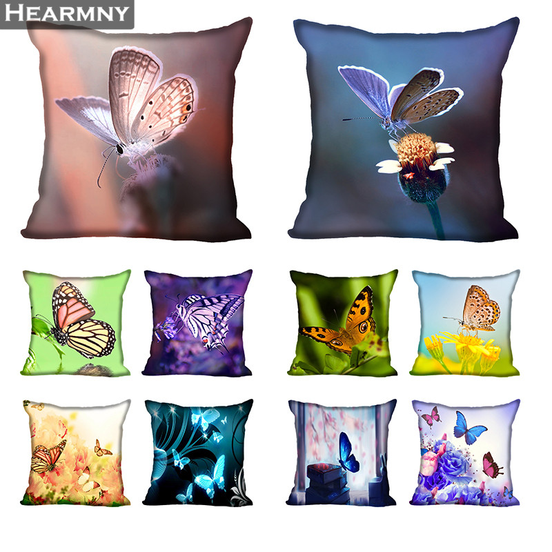 Butterfly Pillow Case For Home Decorative Pillows Cover Invisible Zippered Throw PillowCases 40X40 45X45cm
