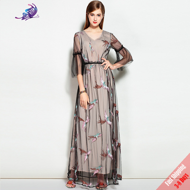 5976ff8d14e84 2017 New Fall Runway Maxi Dresses High Quality Fashion Women s Flare Sleeve  Birds Embroidered V Neck Mesh Long Dresses Free DHL