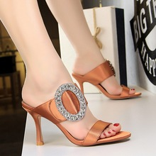 Women High Heels Rhinestone Satin Sandals