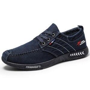 Image 5 - Baskets en toile pour hommes chaussures décontractées, chaussures dété à lacets, aérées, noires, tennis