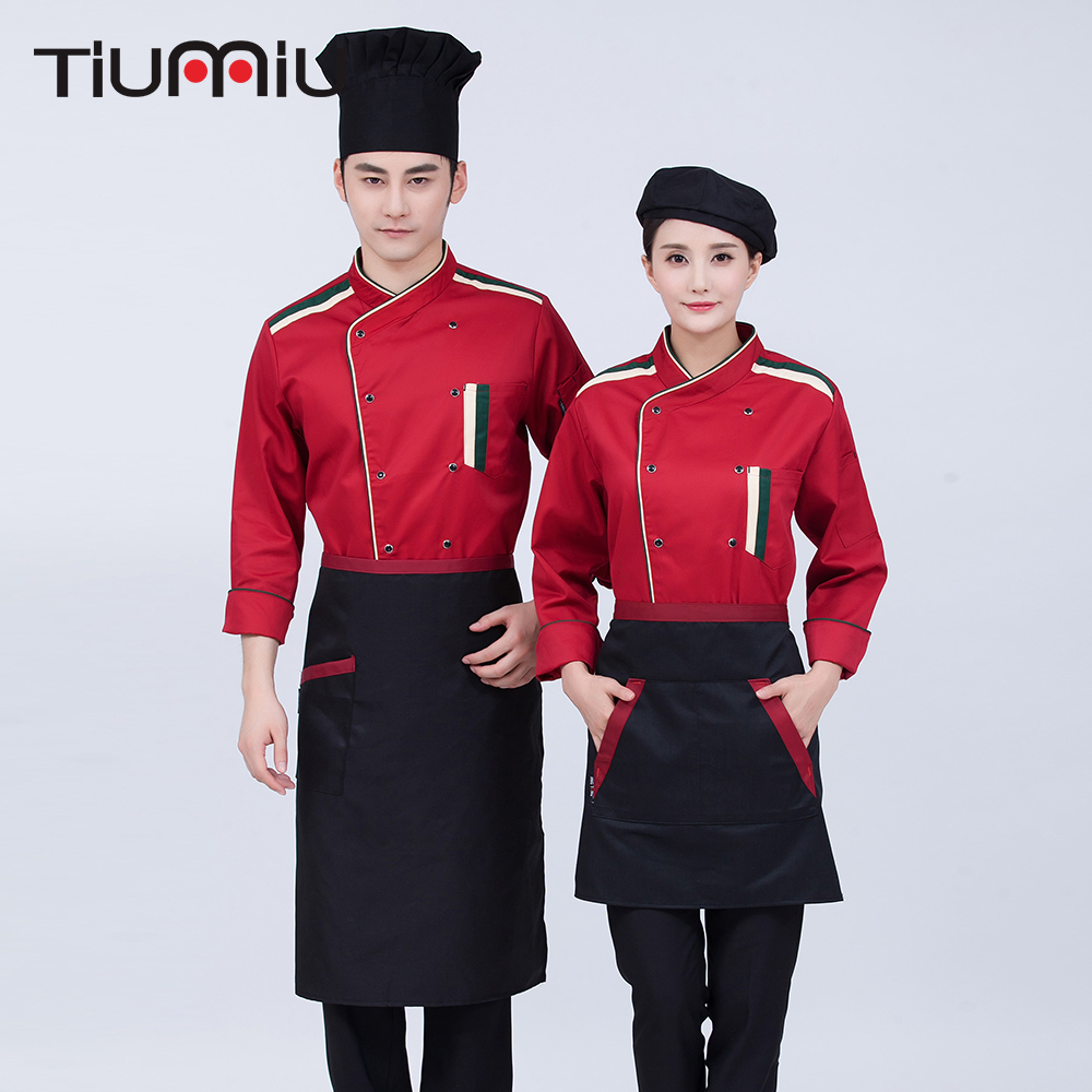 2019 Chef Uniforms Long Sleeve Double Breasted Food Service Restaurant Cook Work Wear Hotel Waiter Tops Jackets Men Women