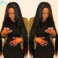 Virginal Brasileño Recto Sedoso Sin Cola Llena Del Cordón Pelucas Para Negro las mujeres Del Cordón Del Pelo Humano Pelucas Delanteras Con el Pelo Del Bebé No maraña