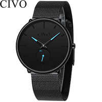 CIVO 2019 Neue Mode Herren Uhr Männer Sport Quarz Uhren Uhr Wasserdichte Minimalismus Echtem Lederband Armbanduhr Uhren