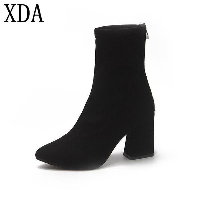 XDA 2018 Women Boots round head Suede Ankle Boots Thick Heel High Heels  Shoes Female Socks Boots Autumn Winter martin boots W803 b079c2d101d7