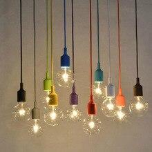 Modern Colorful Silicone Pendant Lights for Bar Restaurant E27 Pendant Lamp 1 Meter Cable 11colors Vintage Edison Bulb+lamp base
