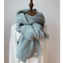 Женские однотонные кашемировые шарфы, женские зимние плотные теплые мягкие пашмины шали, шали, палантины, розовый, черный, Женский вязаный шерстяной длинный шарф