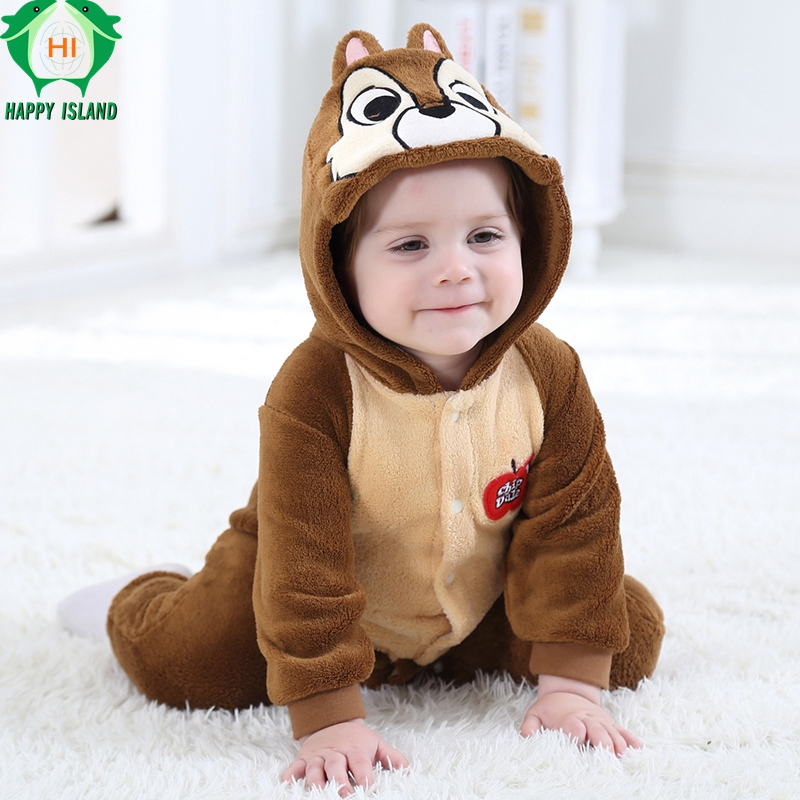 HAPPY ISLAND Baby Clothes Flannel Baby Boy Clothes Cartoon Animal Jumpsuit Baby Girl Cute Squirrel   Rompers   Baby Clothing Pajamas