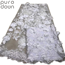 5 yards/lot Africa lace fabric embroidery Nigeria high quality french for wedding dress Wholesale 3D Flower
