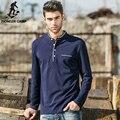 Pioneer camp nova luva longa dos homens t-shirts moda 2017 Azul Escuro magro T-Shirt Masculina Gola Mandarim Ocasional TShirt Dos Homens 622005