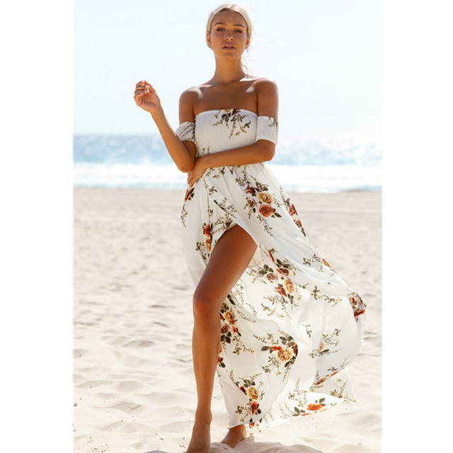 f177c982093 US $22.56 |2017 Floral print off the shoulder chiffon long dress Women  backless maxi dresses vestidos Sexy white split beach summer dress-in  Dresses ...