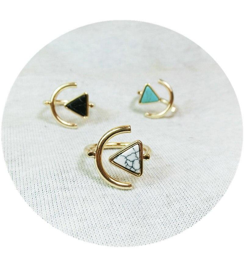 Ruand-Ring Geometry Square Natural-Stone BOHO Adjustable Punk Jewelry Retro Women
