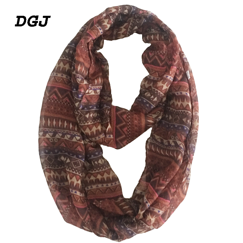 2019 Fashion Thin Infinity Women Bohemian Style Print Polyester Scarf Small Lightweight Red Ring Loop Soft Scarves   180*40 cm