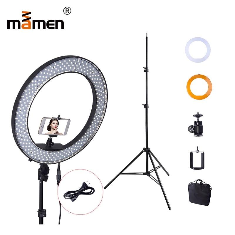 Mamen 5500 K 55 W photographie éclairage 240 pc caméra LED SMD anneau lumière réglable 200 CM trépied maquillage anneau lampe