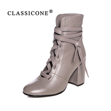 Купить с кэшбэком women shoes women boots ankle spring autumn high heel pumps genuine leather fashion brand style sexy luxury decorationCLASSICONE