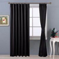 2 Panels Ready Made Solid Color Thermal Insulated Blackout Curtains With Adjustable Hook For Living Room