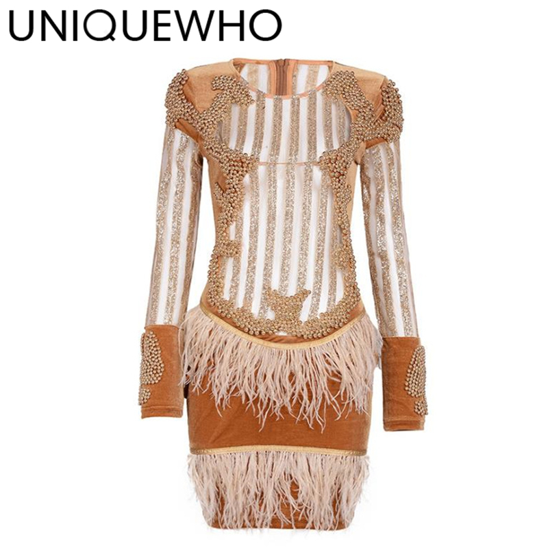 UNIQUEWHO Women Sexy Mesh Stripe Sequin Mini Dress Slim Black Long Sleeve Beaded Feather Bodycon Dress Club Party Dresses Spring юбка river island river island ri004ewuwd48