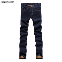 Men's Jeans 2017 New Style Men Warmer Straight Slim Large Stretch Business Casual Long Jeans Men's Jasper Carmen Brand Pants 59