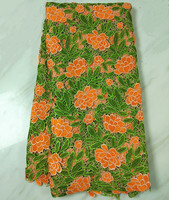 5 Y/pc Most popular green mebroidery african water soluble lace orange flower french cord lace fabric for clothes BW118-1