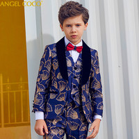 British Style Presided Piano Performance Suits Children's Clothing Jacket Blue Golden Thread Blazers For Boys Suits For Weddings