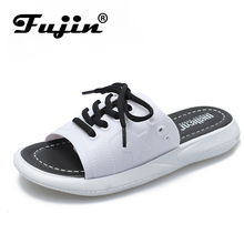 Fujin Brand 2019 New Summer Sandals Women Flat Shoes Fashion Popular Ladies Casual Lace Up White Slippers