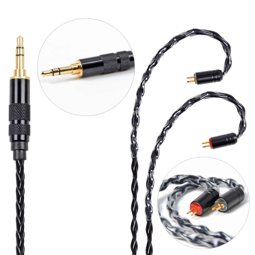 NICEHCK MMCX/2Pin złącze 4.4/3.5/2.5mm wyważone 8 rdzeń Plated srebrny kabel dla SE846 TFZ TRN V90 ZS10/ZSX C10/C16 NICEHCK NX7