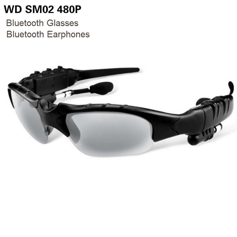 WD SM02 480P Bluetooth Glassess With Wireless In Ear Headset Earphones Headphones Stereo Sound Support Phones Calls Listen Music