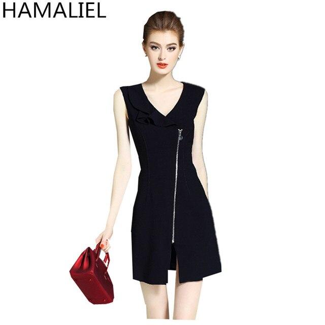 Hamaliel nueva moda verano vestido formal 2018 breve negro sin mangas  Cremalleras V Masajeadores de cuello 6c72db8cec39