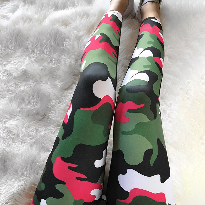 Image 2 - Camouflage printed legging 2019 High Quality Women Ombre Legging Fashion Casual 3D High Waist  Woman  lift the hips Leggings-in Leggings from Women's Clothing