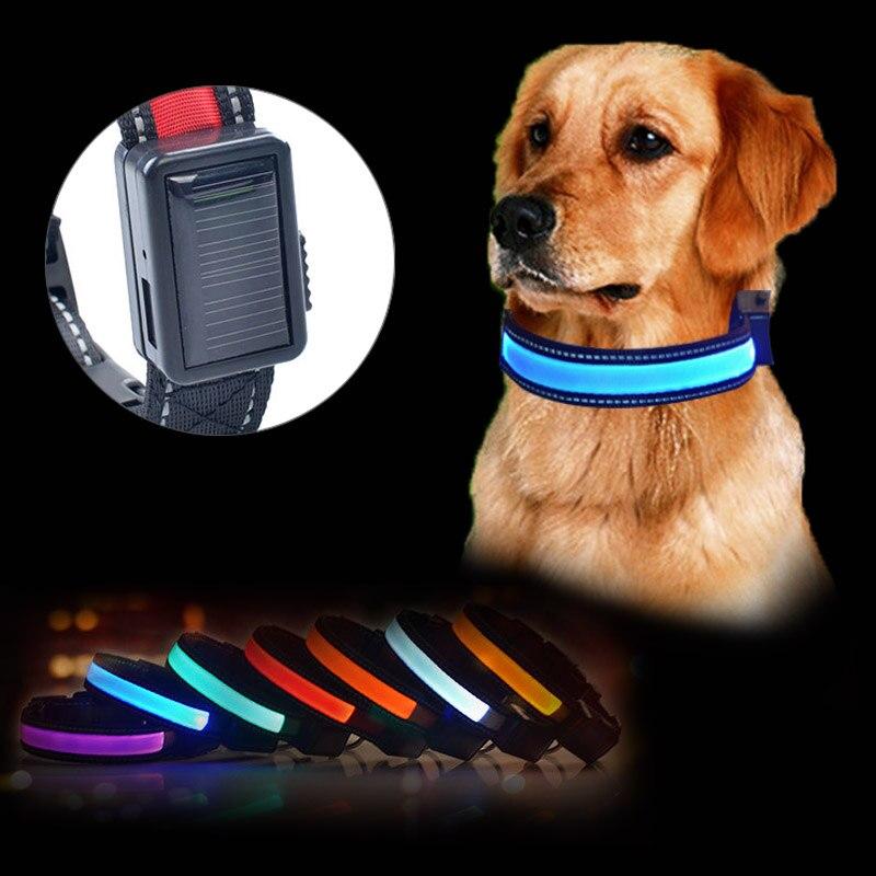 Солнечная <font><b>USB</b></font> Перезаряжаемые кота собаки светодиодный ошейник ночь Детская безопасность Glow мигающий Товары для собак поводок световой щено&#8230;