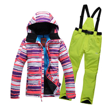 free shipping 2016 new women snowboarding suit skiwear colorful stripes jacket+pants women's winter warm ski suit one set