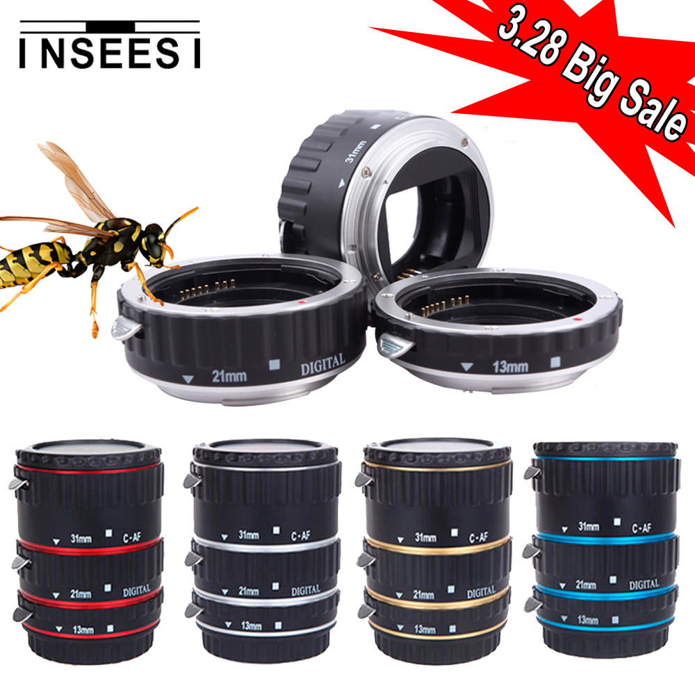 INSEESI 5 Colore Mount Metallo Messa A Fuoco Automatica AF Macro Tubo di Prolunga Lens anello Adattatore Per Canon EOS 1100D 700D 70D 450D DSLR telecamere