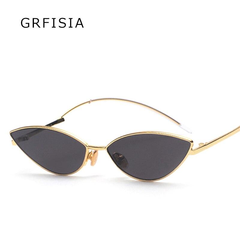 GRFISIA Hot Sunglasses Ladies Brand Designer 2018 Luxury Cat Eye Sunglasses Women Men Bending Mirror Leg Vintage Shades UV G343