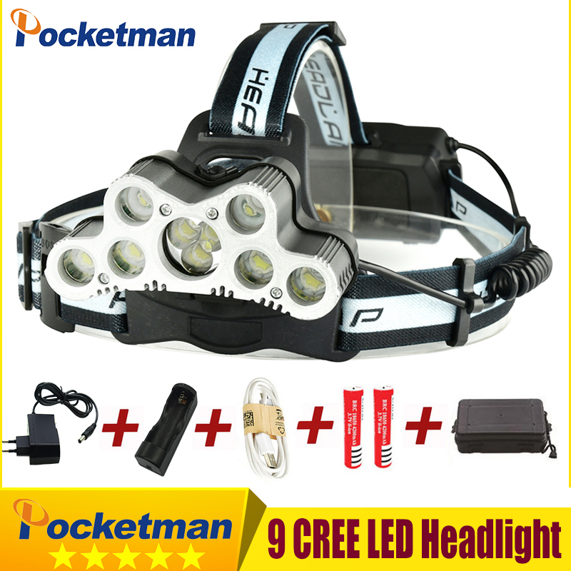 Super bright USB 9 CREE LED Led Headlamp Headlight head flashlight torch cree XM-L T6 head lamp rechargeable for 18650 battery rechargeable 2000lm tactical cree xm l t6 led flashlight 5 modes 2 18650 battery dc car charger power adapter