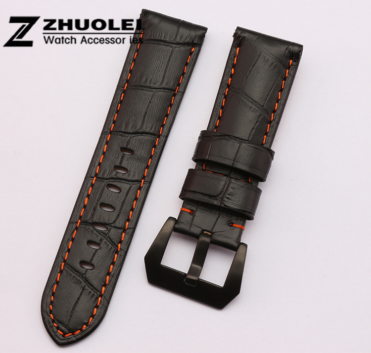 Watch strap 22mm 24mm New High Quality Black Orange Stitching Genuine Leather Watch Band Bracelets for PAM111 new arrive top quality oil red brown 24mm italian vintage genuine leather watch band strap for panerai pam and big pilot watch