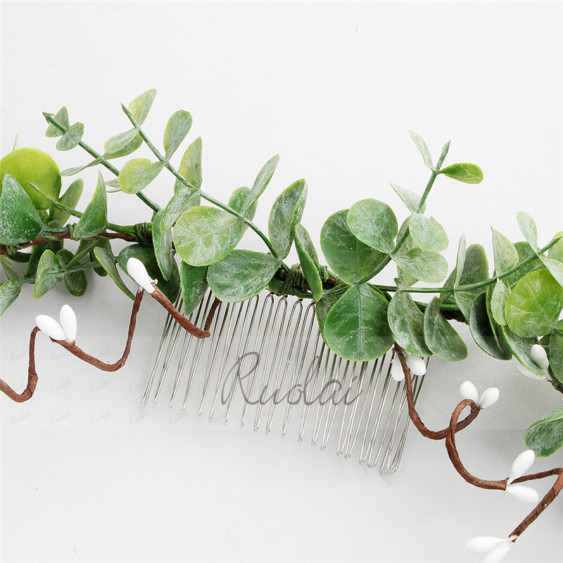 Купить с кэшбэком Elegant Handmade Headbands European Hair Comb Green Leaves Wedding Hair Accessories Bridal Headpieces for Women HD4