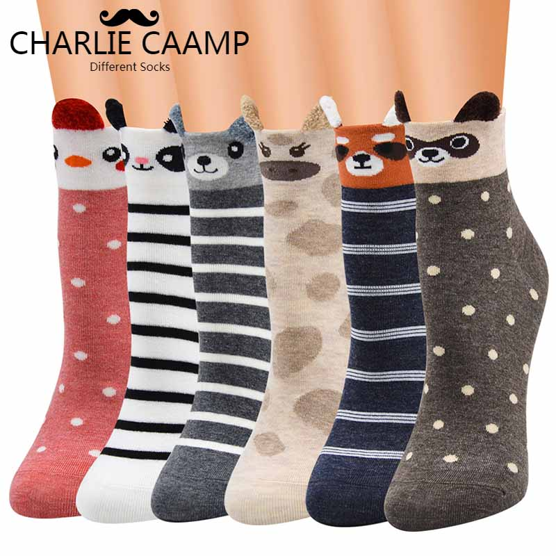CHARLIE CAAMP Autumn And Winter New Stereo Cartoon Animal Cotton Tube Female Trend Cute Sweet Series Socks F237