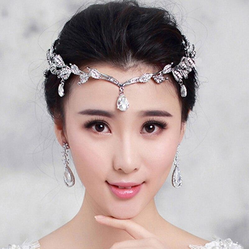 Prix pour Nouvelle feuille Cristal Couronne De Mariée Cheveux Accessoire De Mariage bandeau Strass Waterdrop couronne tiara Demoiselle D'honneur Cheveux De front Bijoux