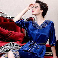 2016 New Fashion Women Silk Pajamas Shirt Sleep Shorts 2-pcs Set ladies' frauen pijama mujer de stitch women Sleepwear femme