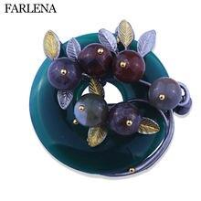 Женская Винтажная брошь с разноцветным камнем