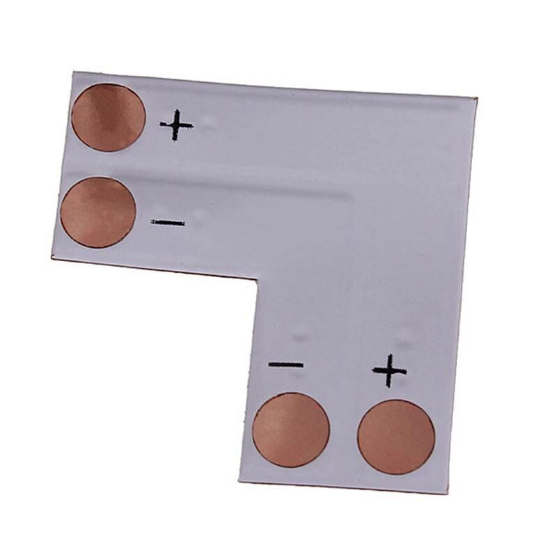 High Quality 5pcs/lot 8mm 2 Pin L Shape Adapters Single Color 3528 LED Strip Corner For Cross Connectors No Soldering