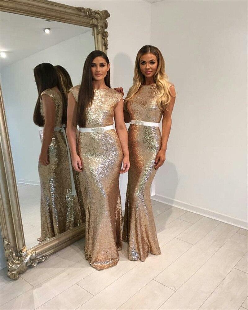 Wedding Gold Bridesmaid Dresses popular gold bridesmaids dresses buy cheap elgant 2017 bridesmaid champagne floor length mermaid tank coral lilac mint import sequin