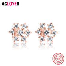 Female Snowflake Stud Earring 100% Real 925 Sterling Silver Jewelry High Quality AAA Zircon Double Earrings For Women Best Gift best quality luxuxious and nice silver jewelry gift noble purple silver charm series 925 real silver snowflake charms bracelet